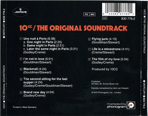 10cc The Original Soundtrack 1975 back