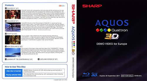 Собрание демо дисков 3D Blu-ray Sharp
