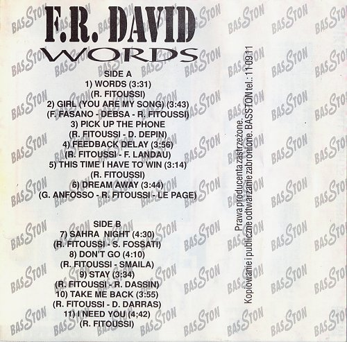 F.R. David ‎– Words... And More Hits