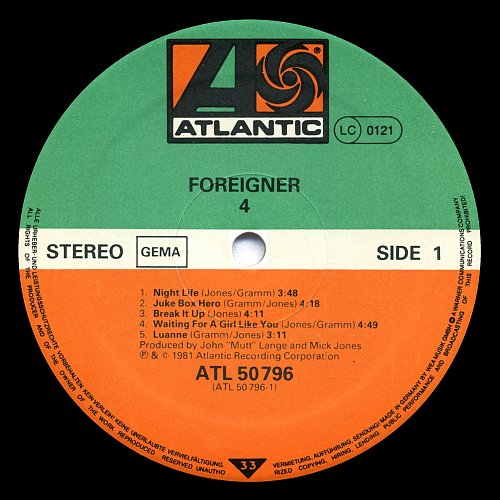 Foreigner - Foreigner 4 (Atlantic, Germany) [1981]