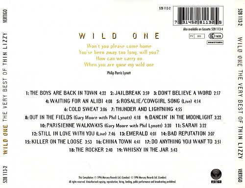 Thin Lizzy - Wild One - The Very Best Of Thin Lizzy (1996)