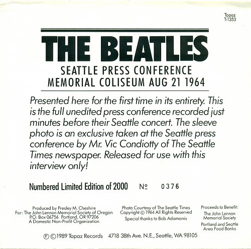 The Beatles - Beatles Press Conference Seattle August 21st, 1964 (EP)1989(USA)