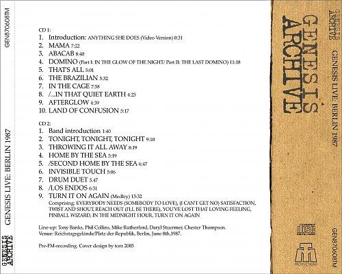 Genesis - Genesis Archive 8-June-1987 Live In Berlin (2005 TM Productions, Germany) 2CD