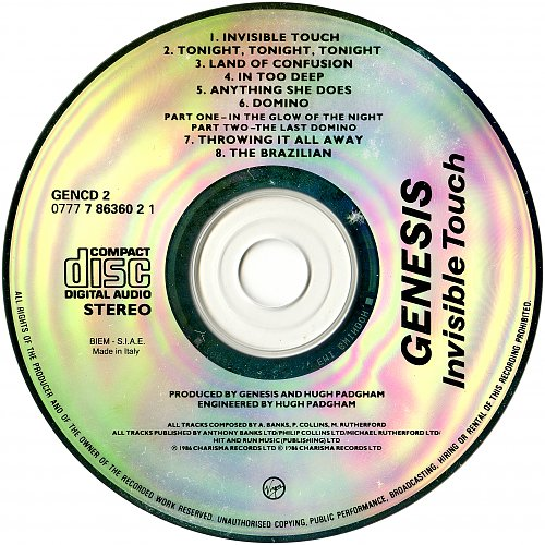 Genesis - Invisible Touch (1986 Charisma Records, Virgin Dischi SPA, Italy)