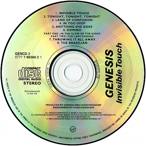 Genesis - Invisible Touch (1986 Charisma Records, Virgin Records, UK)
