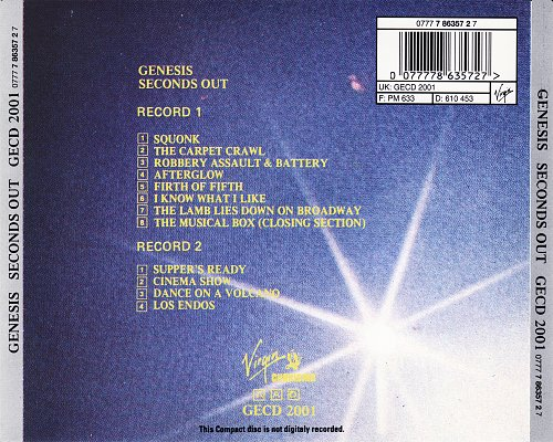 Genesis - Seconds Out (1977 Virgin, 1985 Charisma, UK/West Germany) 2CD