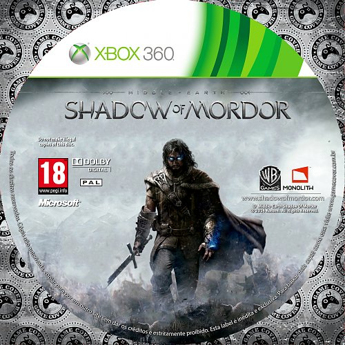Middle Earth Shadow of Mordor dvd label
