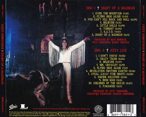 Ozzy Osbourne - Diary Of A Madman (1981, 2011 Sony Music Entertainment, Epic, Legacy, USA) 2CD