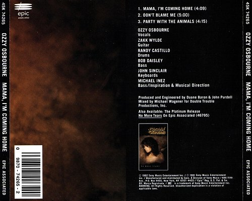 Ozzy Osbourne - Mama, I'm Coming Home (1991, 1992 Sony Music Entertainment, Epic, USA)