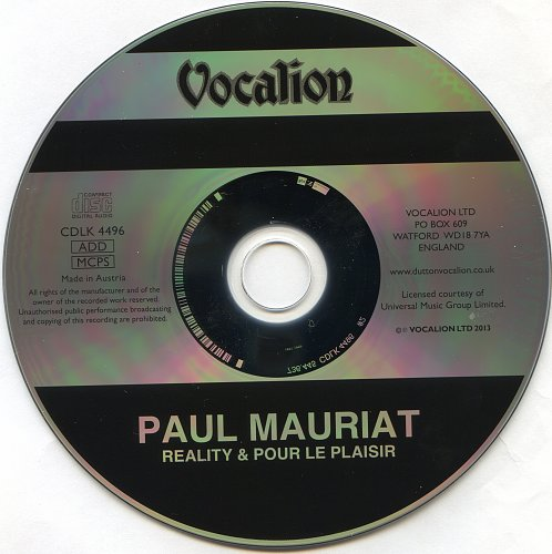 Paul Mauriat - Reality(1981) & Pour Le Plaisir(1981) (Vocalion CDLK 4496, Austria) 2013 – Dutton Voc