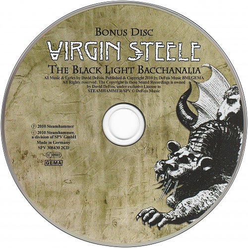 Virgin Steele - The Black Light Bacchanalia (2010 Steamhammer, SPV GmbH, Germany) 2CD