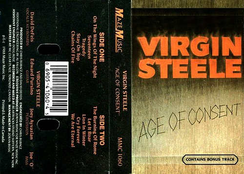 Virgin Steele - Age Of Consent (1988 Maze Music, Canada)