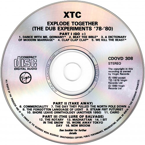 XTC - Explode Together: The Dub Experiments 78-80 (1990 Virgin Records Ltd., Nimbus, UK, EU)