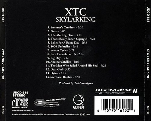 XTC - Skylarking (1986 Geffen Rec.; 1994 Mobile Fidelity Sound Lab, Original Master Recording, USA)