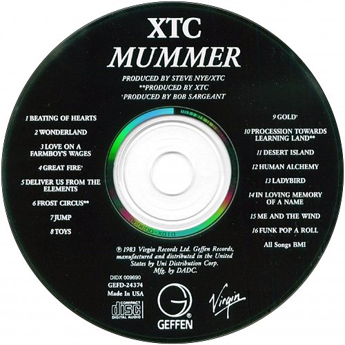 XTC - Mummer (1983 Virgin Records Ltd., 1987 Geffen Records, Uni Distribution Corp., DADC, USA)