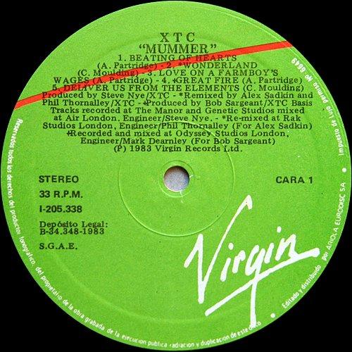 XTC - Mummer (1983 Virgin, Ariola Eurodisc S.A., Iberofon S.A., Indugraf Madrid, Spain)