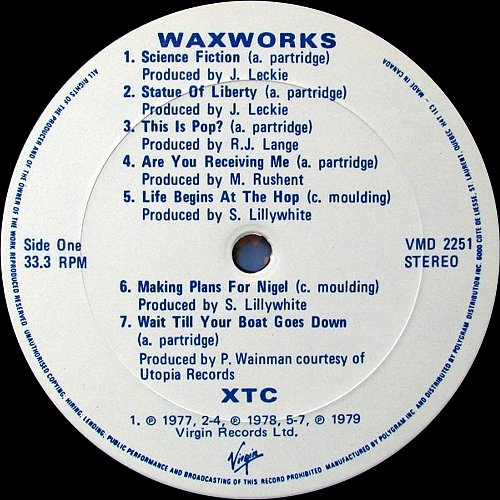 XTC - 2 Albums: Waxworks: Some Singles 1977-82 & Beeswax: Some B-Sides 1977-82 (1982 Virgin, Canada)