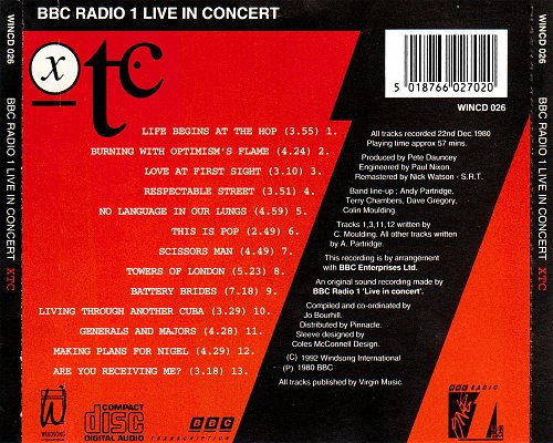 XTC - BBC Radio 1 Live In Concert (1980 BBC Enterprises, 1992 Windsong International, PDO, UK)