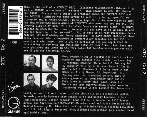 XTC - Go 2 (1978 Virgin Records Ltd., 1991 Geffen Records, Uni Distribution Corp., DADC, USA)