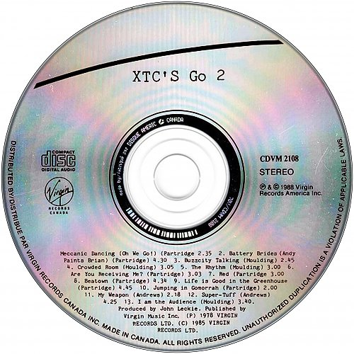 XTC - Go 2 (1978 Virgin Records, 1988 Virgin Records America Inc., Disque Americ, Canada)