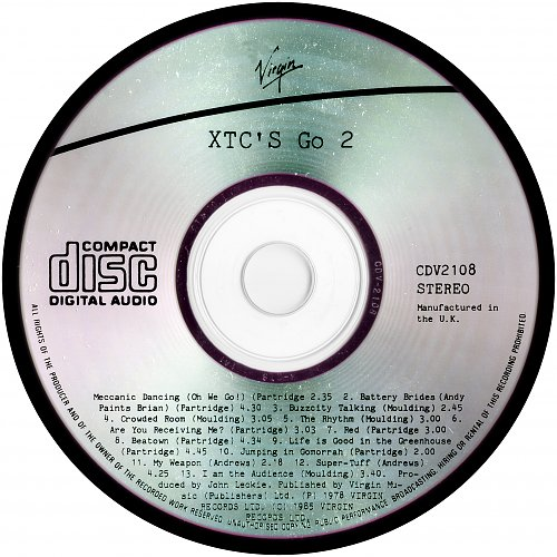 XTC - Go 2 (1978, 1985 Virgin Records Ltd., Virgin Music (Publishers) Ltd., UK)