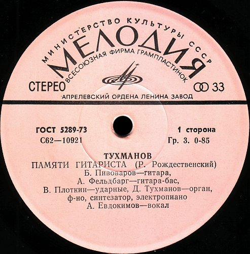 Тухманов Давид - Памяти гитариста - Памяти поэта (1978) [EP С62-10921-22]