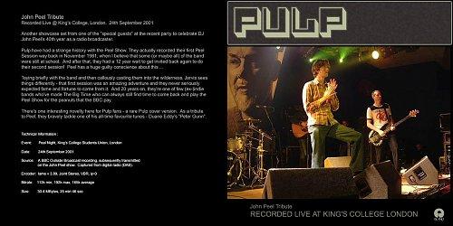 Pulp - John Peel Tribute (2001 Universal Island Records Ltd., A Universal Music Company, EU)