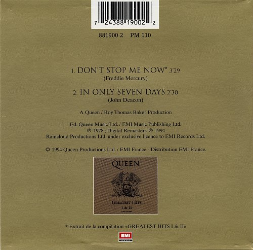 Queen - Don't Stop Me Now (1994, Single)