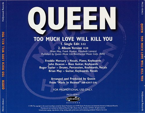 Queen - Too Much Love Will Kill You (1995, Single)
