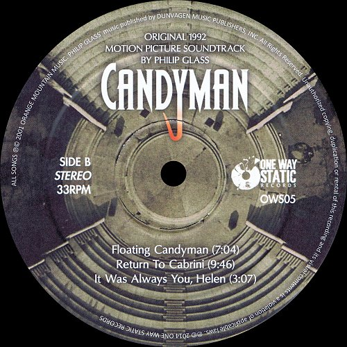 Philip Glass - Candyman. Original 1992 Motion Picture Soundtrack 2001 (2014)