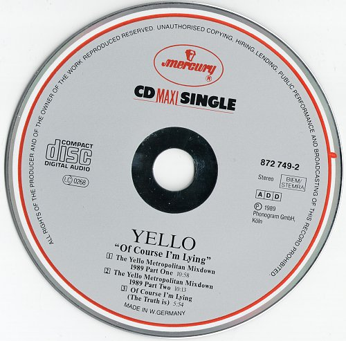 Yello - Of Course I'm Lying (The Truth Is) (1989, Maxi-Single)