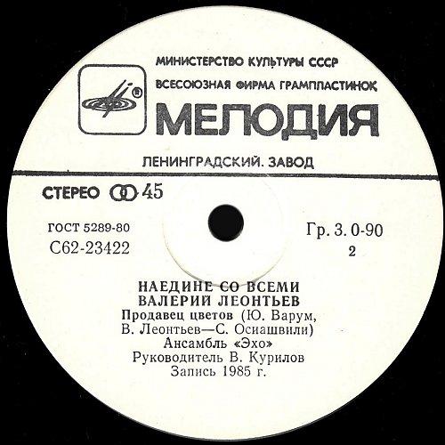 Леонтьев Валерий - Наедине со всеми (1985) [SP С62 23421 006]