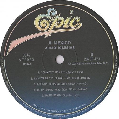 Julio Iglesias - A Mexico (1975) Epic 28·3P-423, Japan © 1983