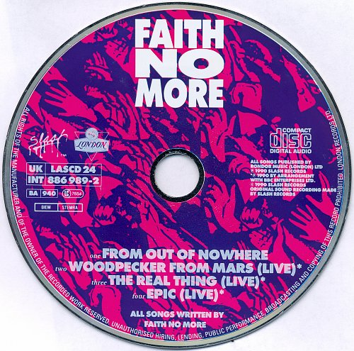 Faith No More - From Out Of Nowhere (CDS) (1989)