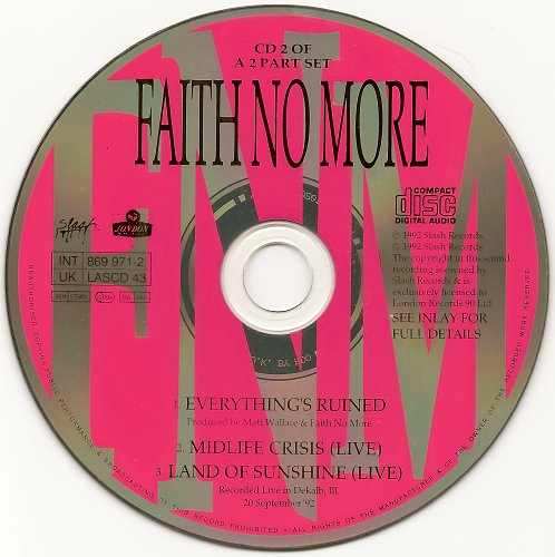 Faith No More - Everything's Ruined (CDS) (1992)