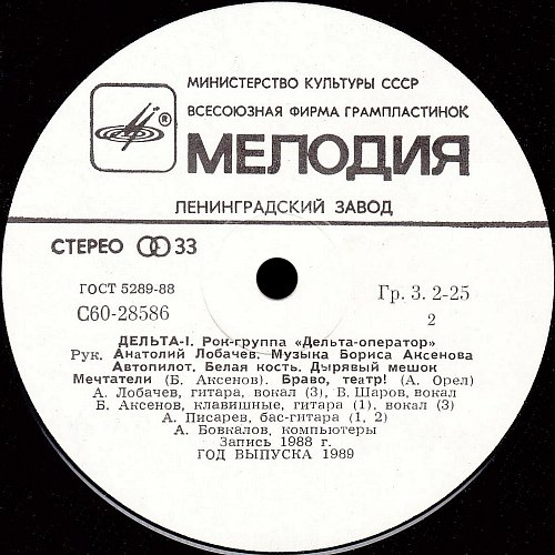 Дельта-оператор, группа - Дельта-1 (1989) [LP С60 28585 001]