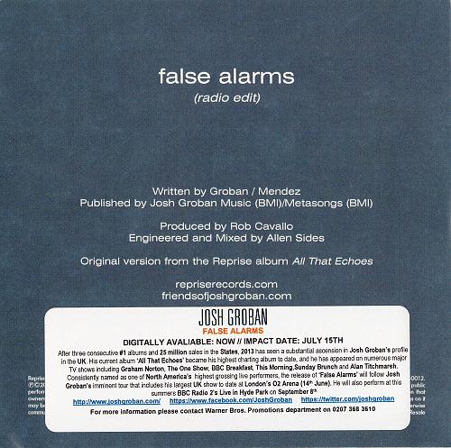 Josh Groban - False Alarms (2013, CD-Single)