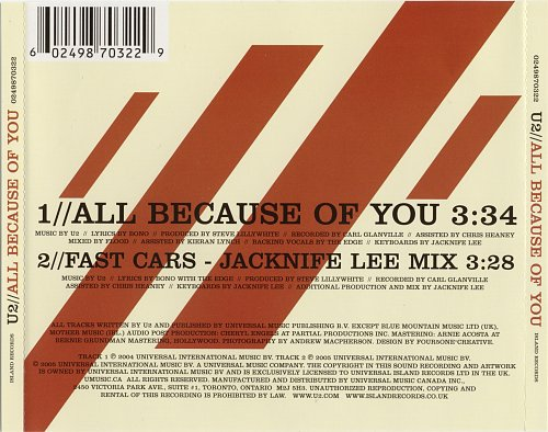 U2 ‎- All Because Of You (2005, CD-Single)