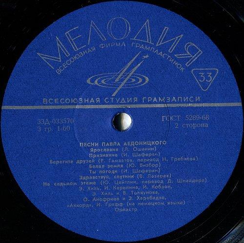 Аедоницкий Павел, песни - 1. Юность верит в чудеса (1973) [LP Д-033569-70]