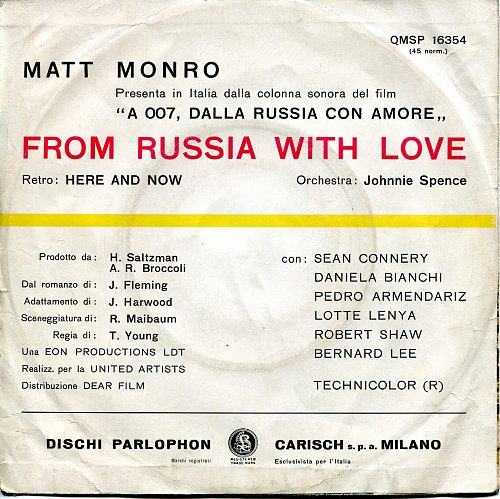 Matt Monro - From Russia With Love (OST) (1964) [SP Parlophon QMSP 16354, Italy]