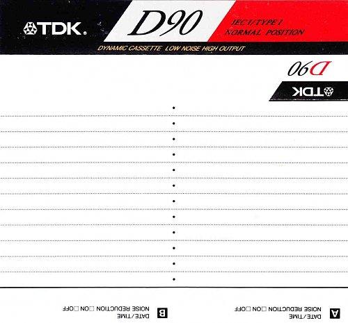 Вкладыш к аудиокассете TDK D90