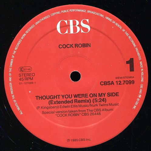 Cock Robin - Thought You Were On My Side (Extended Re-mix) (Vinyl, 12`) (1985)