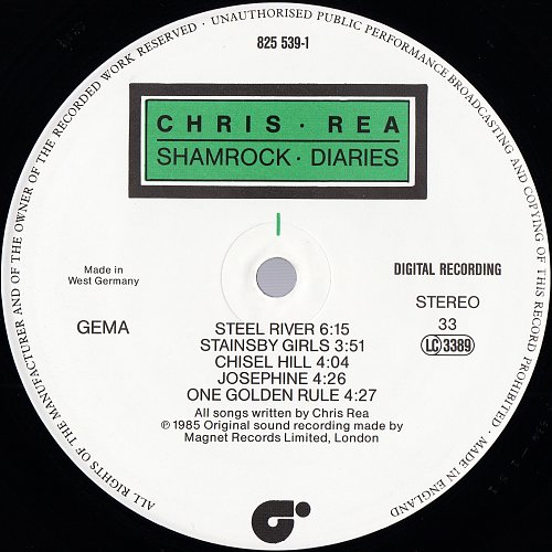 Chris Rea - Shamrock Diaries (1985) [Germany - Magnet 825 539-1]