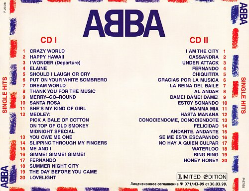 ABBA - Single Hits (1999) [Limited Edition P-27/28]