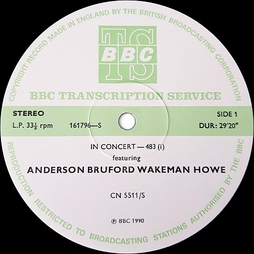 ABWH (Anderson Bruford Wakeman Howe) - In Concert-483 (1990) [BBC Transcription Services, UK]