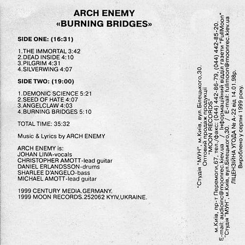 Arch Enemy - Burning Bridges (1999 Moon Records, Ukraine)