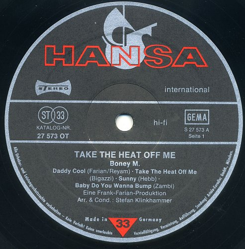 Boney M. - Take The Heat Off Me (1976)